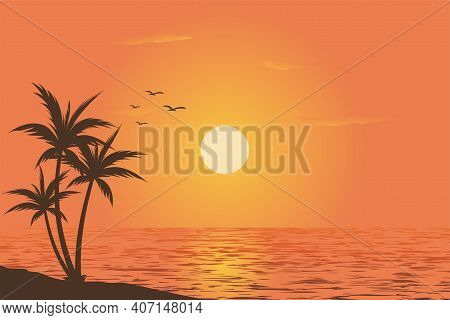 Beautiful Sky View Of Sunset On Beach With Palm Tree Silhouette On Gradient Color Background Vector