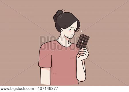 Nutrition, Restrictions, Diet Concept. Sad Unhappy Young Woman Cartoon Character Standing With Choco