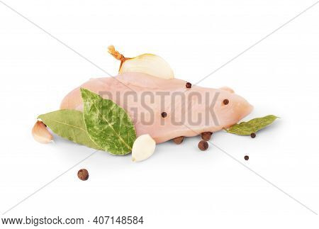 Raw Chicken Breast Isolated On White Background, Ingredient For Make Cooking