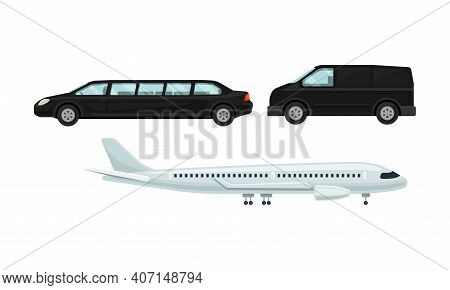 Van And Limousine As Transfer To Airport Terminal Vector Set