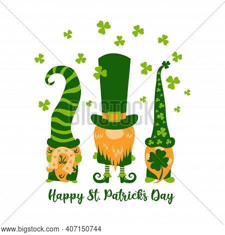 Happy St Patricks Day Greeting Card With Three Cute Greeb Gnomes Or Leprechauns And Shamrocks,