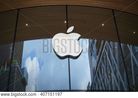 Bangkok, Thailand September 16, 2020: Apple Company Logo On Apple Store. Apple Is Multinational Tech
