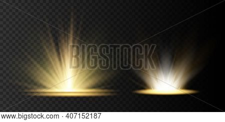 Light Highlight Yellow Special Effect With Rays Of Light And Magic Sparkles. Sun Ray . Glow Transpar