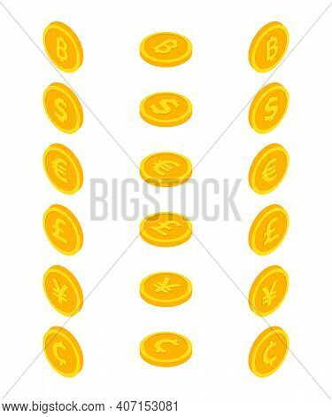 Set Of Coin Icons. Coin Dollar, Euro, Yuan, Bitcoin, Cent And Centavo, Pound Sterling. Currency Symb