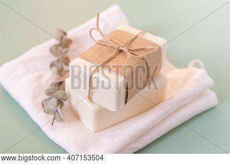 Eucalyptus, Craft Paper, Cotton Fabric, Soap, Over Green Background. Zero Waste, Natural Organic Bat