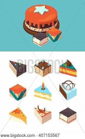 Isometric Cakes. Delicious Products Sliced Cake Pieces Garish Vector Illustrations. Cake Piece Isome