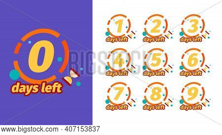 Days To Go. Badges Design With Days Counter Timer Weeks 1 One Two Three Sale Countdown 8 Or 5 Garish