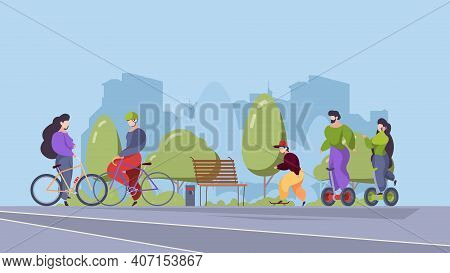 People Riders In Urban Park. Outdoor Sport Activities In City Active Relax Happy Persons Riding On B
