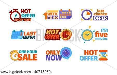 Countdown Badges. Promotional Hot Offers Symbols Clocks Hourly Shopping Sales Week Garish Vector Bus