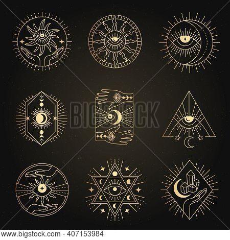 Occult Emblems. Meditation Alchemy Mystical Esoterism Magic Symbols Recent Vector Geometrical Line F