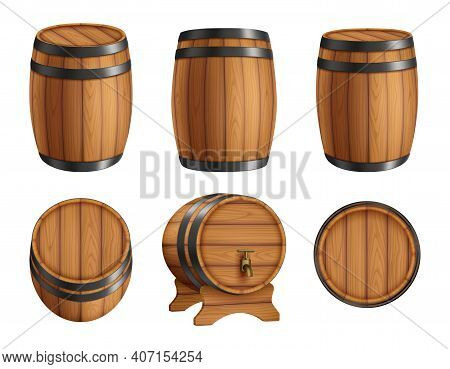 Barrels Alcohol. Front And Top View Of Wooden Barrels With Rum Bar Containers Faucet Hoop Decent Vec