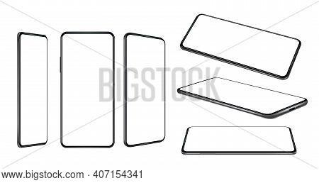Realistic Smartphones. 3d Blank Templates Of Digital Communication Mobile Phones Future Technology D