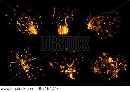 Fire Particles. Glowing Effects With Little Flame Parts Burned Sparks Decent Vector Realistic Set Is