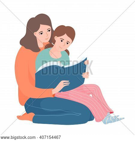 Mother And Daughter Reading Together, Kid Sitting On Her Mother Knees, Pointing To Something In The