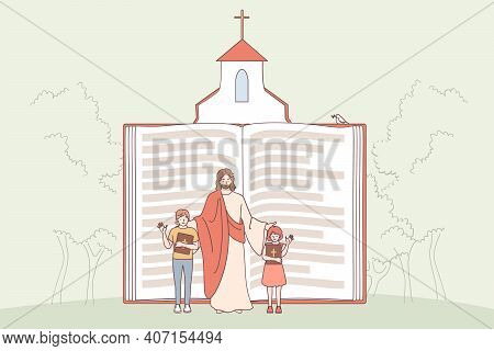 Christianity, Religion, Bible Concept. Huge Religious Book With Jesus And Children Characters Waving