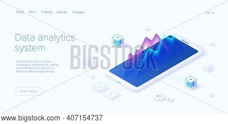 Predictive Analytics In Isometric Vector Illustration. Data Mining, Modelling And Machine Learning.