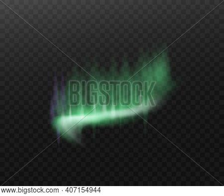 Realistic Northern Lights - Aurora Borealis Isolated On Dark Background.