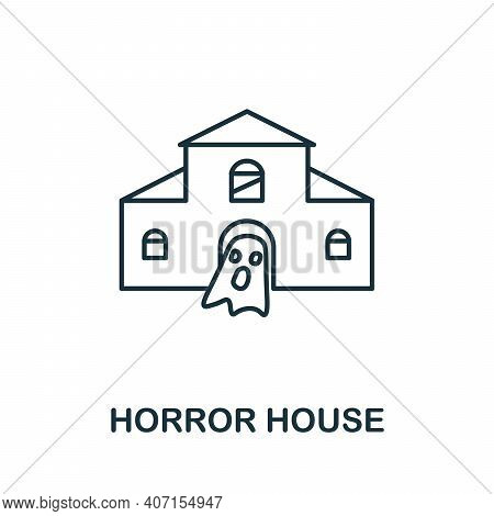 Horror House Icon. Simple Element From Amusement Park Collection. Creative Horror House Icon For Web