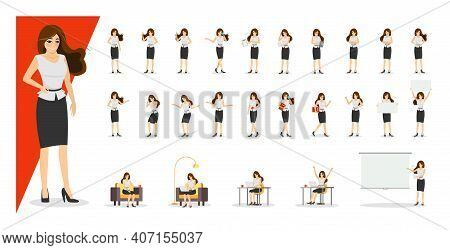 Beautiful Business Woman In Skirt And Blouse Showing Gestures And Emotions In Different Poses Set. O