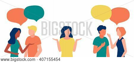 Group Of People Communicates, Ignoring Introverted Woman. Loneliness, Ignorance, Discrimination, Ind
