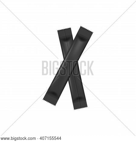 Black Food Stick Packs Lying Criss-cross Realistic Vector Illustration Isolated.