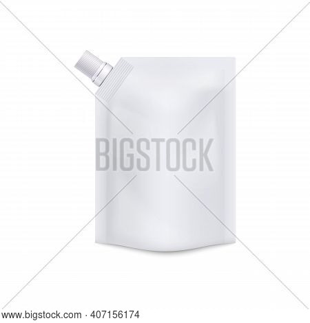 Blank White Doypack With Screw Cap Realistic Vector Illustration Isolated.