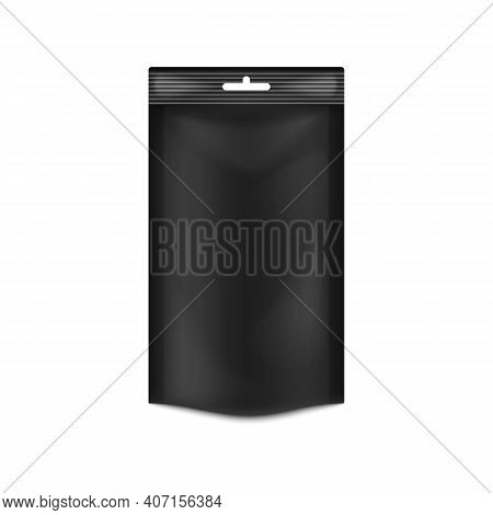 Template Of Food Doypack With Hanging Hole, 3d Vector Illustration Isolated.