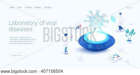 Virus Vaccination In Isometric Vector Design. Flu Or Coronavirus Laboratory. Medical Covid Lab Or An
