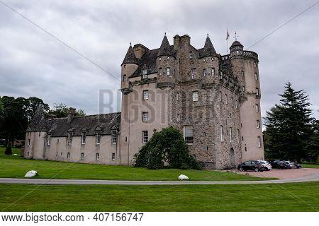 Inverurie, Scotland - August 10, 2019: The Ancient Castle Fraser In Sauchen, Inverurie, Scotland Wit
