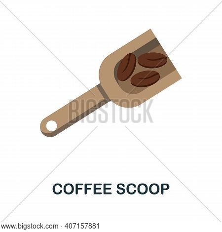 Coffee Scoop Flat Icon. Color Simple Element From Coffee Collection. Creative Coffee Scoop Icon For