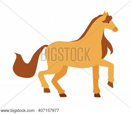 Cute Cartoon Pony In Prancing Pose. Isolated Yellow Little Horse