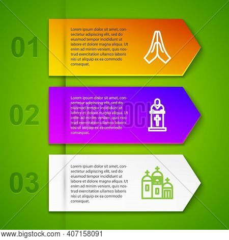 Set Line Hands In Praying Position, Church Pastor Preaching, Building And Cross Ankh. Business Infog