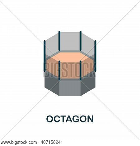 Octagon Flat Icon. Color Simple Element From Combat Sport Collection. Creative Octagon Icon For Web