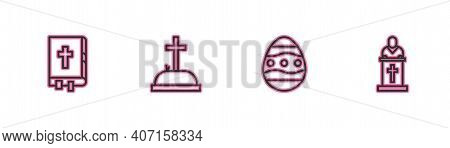 Set Line Holy Bible Book, Easter Egg, Tombstone With Cross And Church Pastor Preaching Icon. Vector