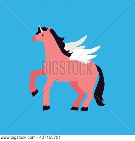 Cartoon Pegasus With Unicorn Horn. Pink Horse With Angel Wings