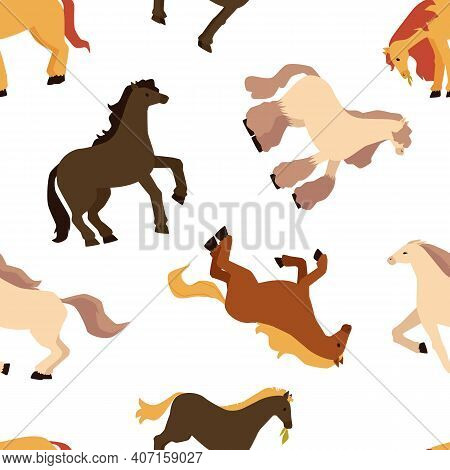 Seamless Pattern With Pony Horses, Flat Vector Illustration On White Backdrop.