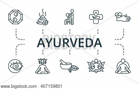 Ayurveda Icon Set. Collection Contain Alternative, Homeopathy, Hypnosis, Acupuncture, Chiropractic,