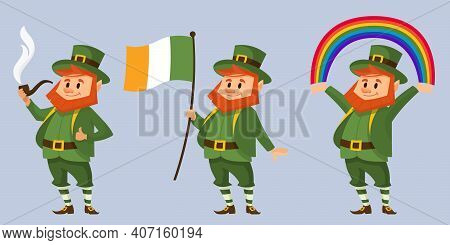 Leprechaun In Different Poses. Fictional Character In Cartoon Style.