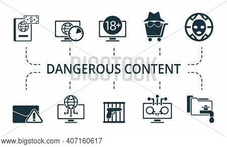 Dangerous Content Icon Set. Collection Contain Cyber, Hitman, Illegal, Weapon, Brute, Force, Attack,
