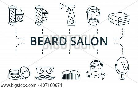 Beard Salon Icon Set. Collection Contain Pack Of Pixel Perfect Creative Icons. Beard Salon Elements
