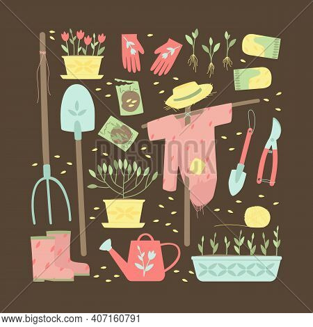 A Set Of Garden Supplies For Planting Plants. Garden Tools, Shovels, Gloves, Watering Can, Plants, S