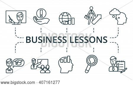 Business Lessons Icon Set. Collection Contain Pack Of Pixel Perfect Creative Icons. Business Lessons