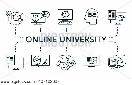 Online University Icon Set. Collection Contain Pack Of Pixel Perfect Creative Icons. Online Universi