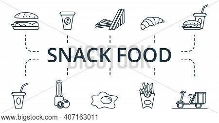 Snack Food Icon Set. Collection Contain Pack Of Pixel Perfect Creative Icons. Snack Food Elements Se