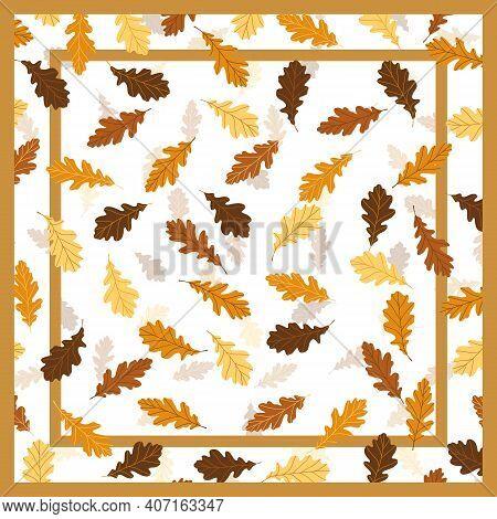 Print For Kerchief, Bandana, Scarf, Handkerchief, Shawl, Neck Scarf. Squared Pattern With Ornament F