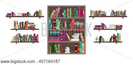 Book On Shelf. Bookshelf With Books In Library. Bookcase With Literature In School For Education. Bo