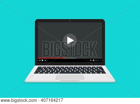 Video On Laptop. Online Webinar On Computer. Video Player On Laptop Screen. Watch Video Tutorial. Ic