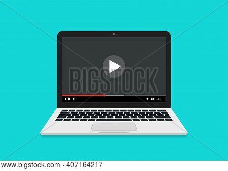 Video On Laptop. Online Webinar On Computer. Video Player On Laptop Screen. Watch Video Tutorial. Ic