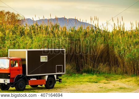 Off-road Camper 4x4, Rv Motor Home On Spanish Nature. Travelling