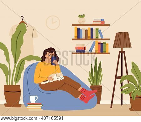 Girl Relaxed. Woman Home, Cat Sleep On Knee. Young Female Using Smartphone In Living Room. House Gar